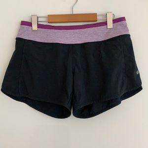 "lululemon Run Times Shorts 4"" Lined Black/Purple 6"